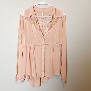 Free People Peach Lace Botton Down Blouse Small